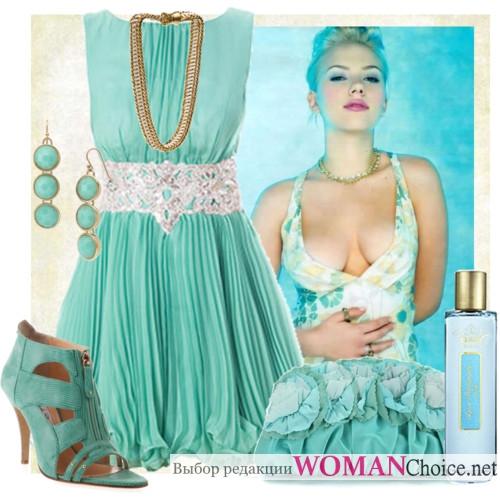 Макияж для бирюзового платья