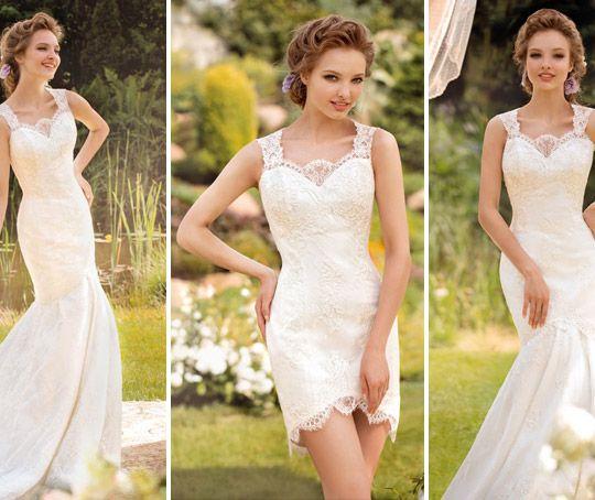 f1701aae336 Самой популярной вариацией трансформера для свадьбы является модель с  отстегивающейся юбкой на уровне середины бедра. Это допустимо и в пышной  модели