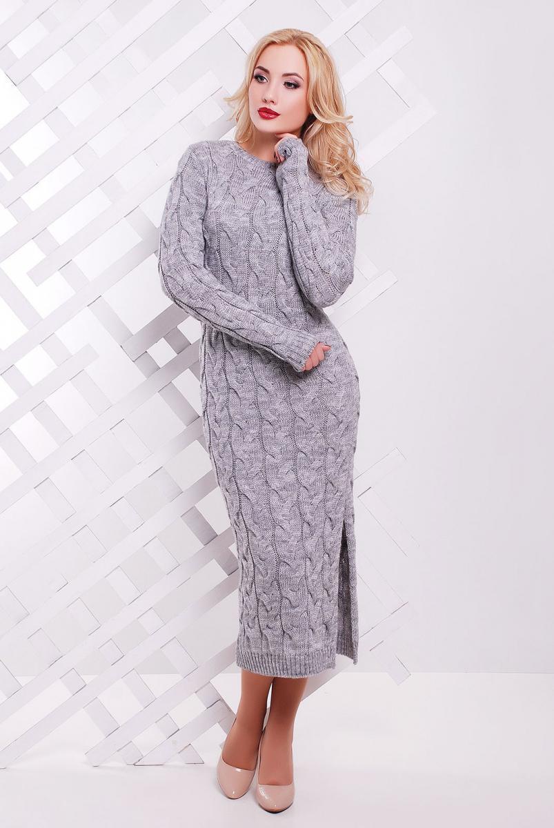 d14abe61c177 Если за окном зима, а хочется выглядеть красиво, то попробуйте надеть серое  платье крупной вязки. Оно теплое, уютное и невероятно красивое.