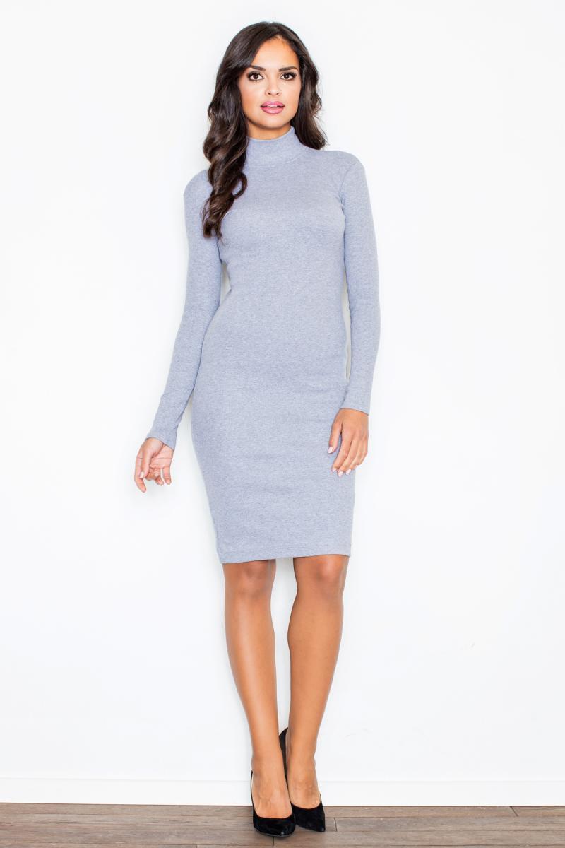d7827dd746ad621 Серое платье из трикотажа может быть как прямого кроя, так и обтягивающее  (самый удачный вариант). Длина – до колена или чуть выше.