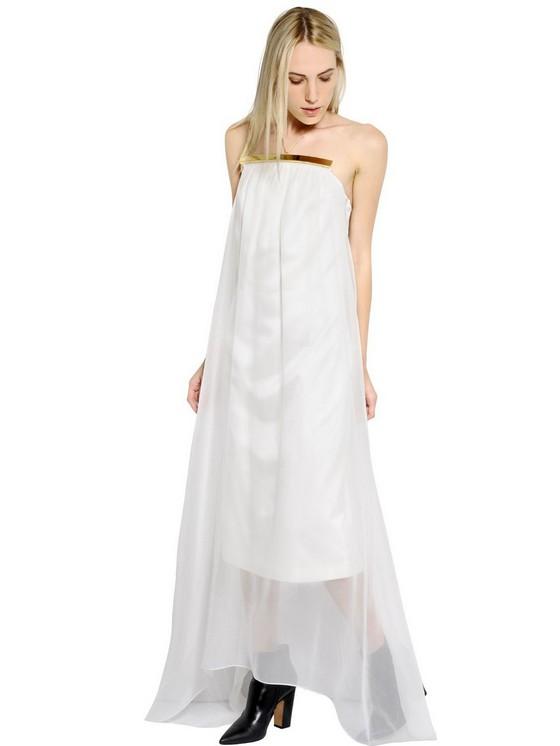 Белое шелковое платье