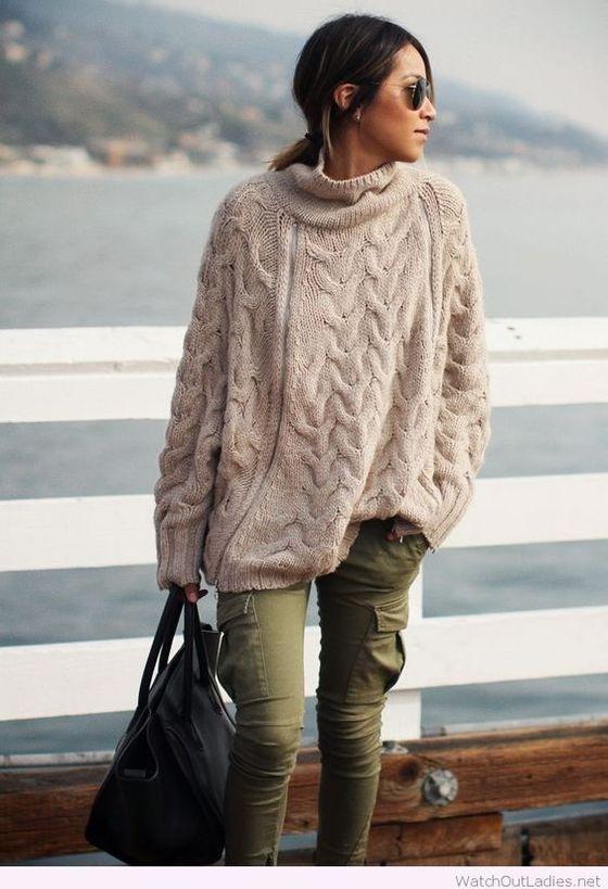 9e5f2c38449 Свитер крупной вязки 2019 - 109 фото модных вязаных свитеров ...