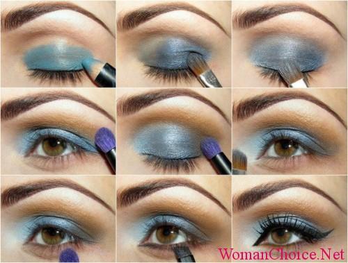 Пошаговый макияж с синими тенями