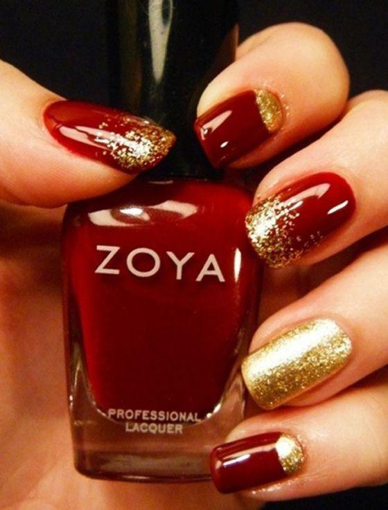 Красный лак с золотыми блестками
